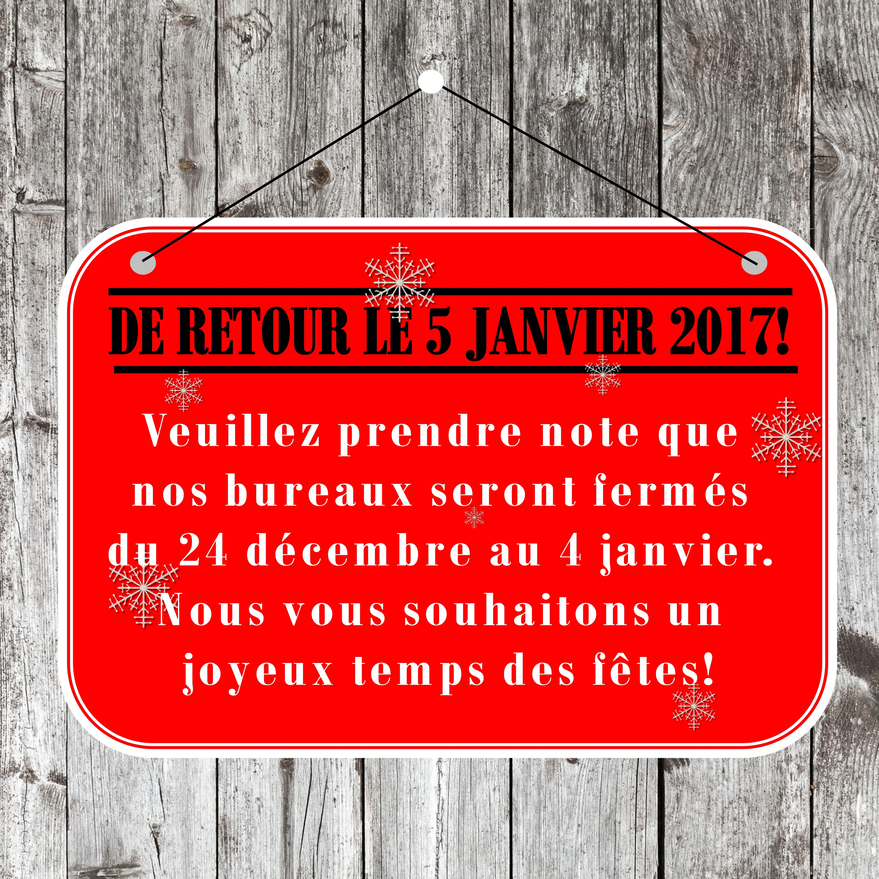 BUREAU FERMÉ NOËL 2016