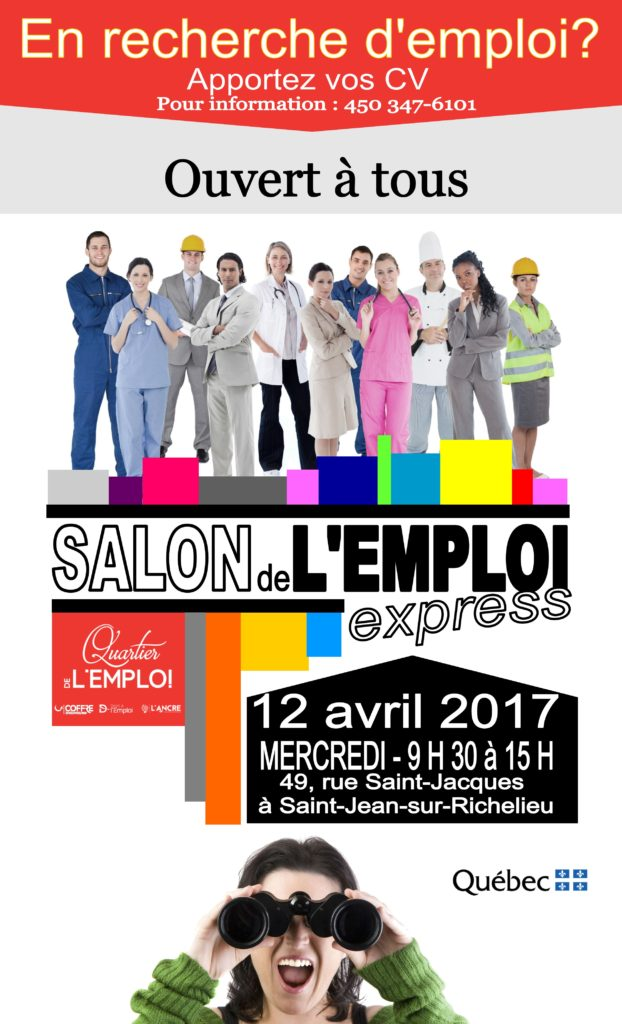 Salon de l 39 emploi express 12 avril 2017 quartier de l for Salon recrutement 2017